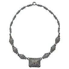 ca 1930 Marcasite Sterling Silver Vintage Necklace Art Deco