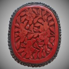 Huge Cinnabar Cress Clip Vintage Chinese Export Carved