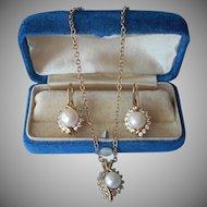 Faux Pearl Crystal Vintage Set Pierced Drop Earrings Necklace On Chain