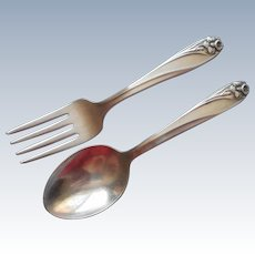 Daffodil 1950 Baby Toddler Spoon Fork Vintage Silver Plated
