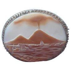 Italian Cameo Mount Vesuvius Volcano Vintage Carved Shell