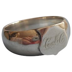Napkin Ring Antique Silver Plated Monogram C.A.C.