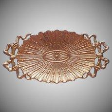 1960s Ormolu Soap Dish Vintage Vanity Ornate Gold Metal Bows Wolff