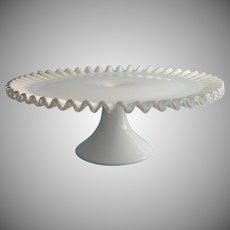 Fenton Cake Stand Pedestal Silver Crest Milk White Glass Vintage 13.5 Inch Wedding