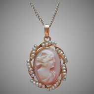 10K Gold Pink Shell Cameo Necklace Faux Seed Pearls Vintage On Chain