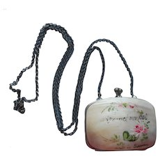 Mother Of Pearl Antique Purse Necklace Forget Me Not Hand Painted