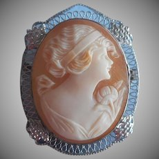 1920s Cameo Sterling Silver Pin Carved Shell Filigree Vintage