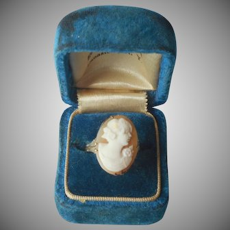 10K Gold Cameo Ring Vintage 20s to 40s Engraved E.S. To J.B. 6