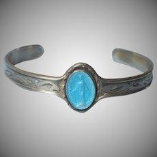 Creed Baby Bracelet Sterling Silver Blue Enamel Miraculous Medal Vintage