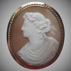 Antique Cameo Carved Shell Goddess Ariadne