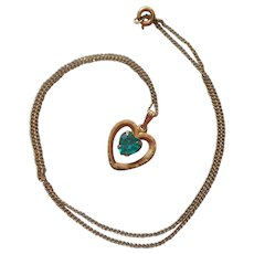 Gold Filled Heart Pendant Necklace Vintage Teal Green Glass Stone