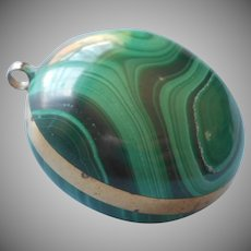 Vintage Malachite Pendant Fat Round Solid Heavy