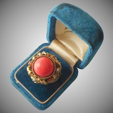 Poison Ring Vintage 1970 Signed ART Faux Coral