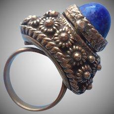 Poison Ring Vintage Blue Glass Faux Lapis Adjustable