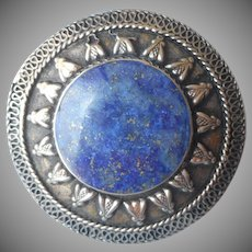 Antique Kuchi Ring Lapis Coin Silver Huge Afghan
