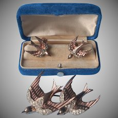 CoroCraft Duette Sterling Heavenly Swallows Fur Clips Pin Earrings Vintage