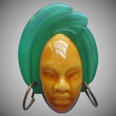 Elzac Lucite Ceramic Head Pin Vintage Turban Brass Earrings African Face