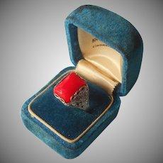 1920s Nemco Ring Filigree Bright Orange Red Glass Stone 8 Vintage