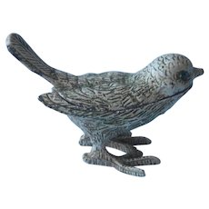 Florenza Bird Vanity Saccharin Pill Box Whitewashed Metal