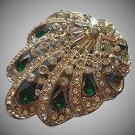 Dress Clip 1940s Green Stones Rhinestones Vintage