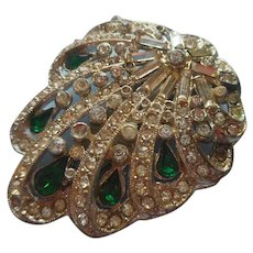 Dress Clip 1940s Green Stones Rhinestones Vintage