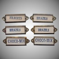 Antique Candy Store Brass Drawer Markers Label Holders