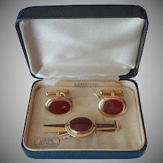 Carnelian Gold Filled Cufflinks Tie Bar Clip Vintage 1950s
