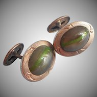 Antique Cufflinks Art Glass ca 1900 Gray Green Stripe