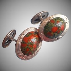 Antique Cufflinks ca 1900 Art Glass Orange Green Mottled