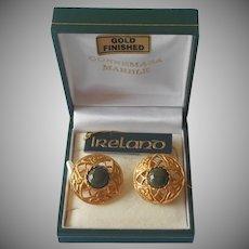 Irish Connemara Marble Earrings Green Celtic Gold Plated Vintage