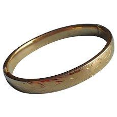 Vintage Napier Hinged Bangle Bracelet Gold Plated