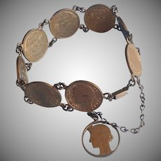 French Coins Bracelet Vintage 1931 to 1941 50 Centimes