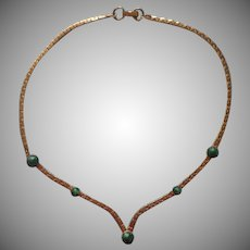 1970s Sarah Coventry Necklace V Faux Jade Gold Tone
