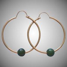 1970s Jade Balls Gold Filled Hoop Earrings Vintage Pierced