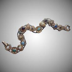 Vintage Slide Bracelet Slider 1960s Goldette Victorian Revival Style