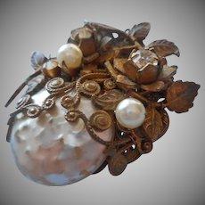Miriam Haskell Pin Vintage Faux Pearls Leaves Filigree TLC