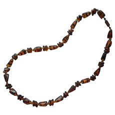 1950s Glass Beads Necklace Faux Tortoise Color Needs to Be Restrung
