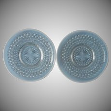 Moonstone Bread Plates 2 Anchor Hocking Vintage Opalescent Hobnail Glass