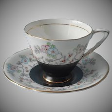 1930s Royal Stafford Cup Saucer Vintage English Bone China Black Enameled