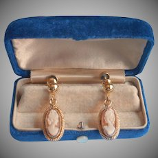 Vintage Carved Shell Cameo Dangle Earrings Gold Filled Sorrento