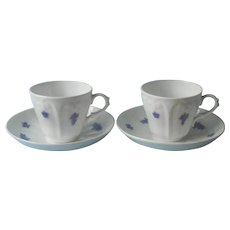Victorian Chelsea Grape Cups Saucers Antique Swags Garlands Draped Molding