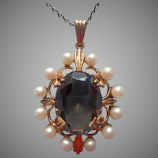 9K Gold Cultured Pearls Smoky Quartz Pendant Necklace Vintage On Chain