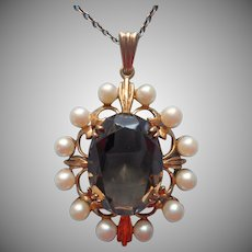 9K Gold Cultured Pearls Smoky Quartz Pendant Necklace Vintage On Chain