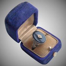 1940s Adjustable Ring Vintage Faux Onyx Faux Diamond