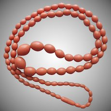 1930s Celluloid Faux Coral Beads Necklace Vintage
