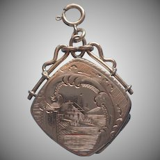 Antique Locket Fob Charm Engraved Lake House Scene Honeymoon