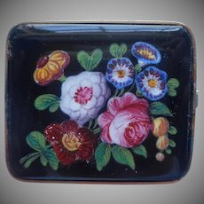 Antique Glass Pin Hand Painted Bright Flowers Unusual Striking