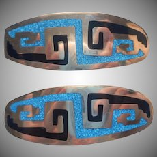 Mexico Barrettes Pair Vintage Inlay Enamel Alpaca Silver Black Blue