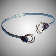 Garnet Sterling Silver Bracelet Bypass Style Bangle Vintage