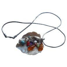 Sterling Silver Blister Mother Of Pearl Shell Pendant Necklace Colored Stones